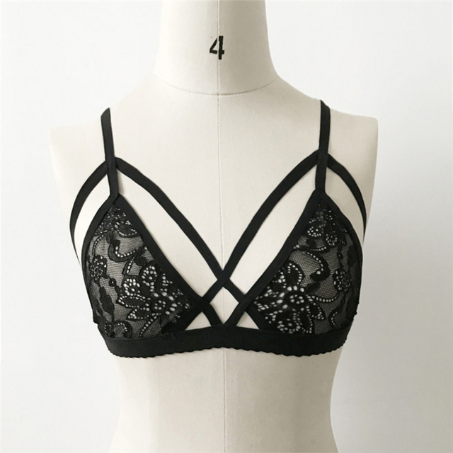 53b6dd388a Hot Sexy Women Sheer Floral Triangle Bralette Bra Crop Top Bustier Unpadded  Mesh Lined 2017 Hot Sale
