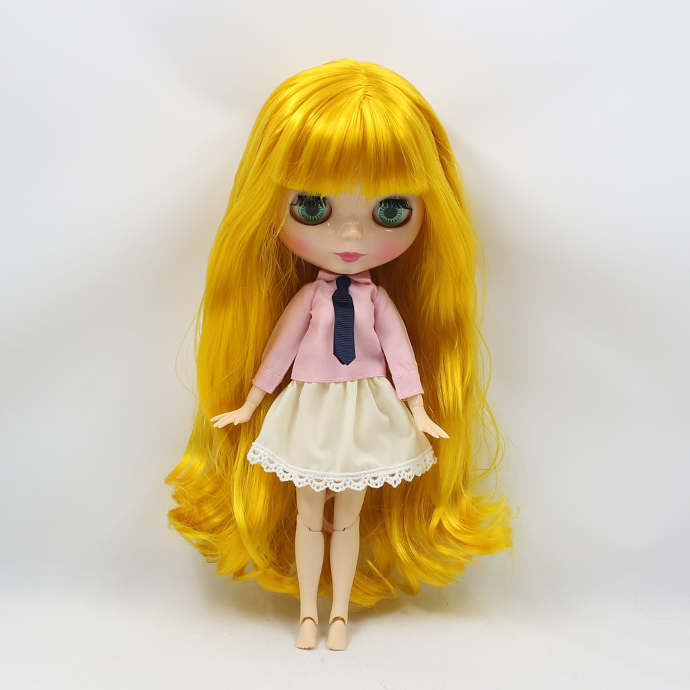 ФОТО long yellow mango hair wavy joint doll with bangs 280BL3038 suitable for doll blyth doll