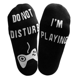Men Unisex 'Do Not Disturb' Great Gamer Gift Letter Print Funny Ankle Socks 16