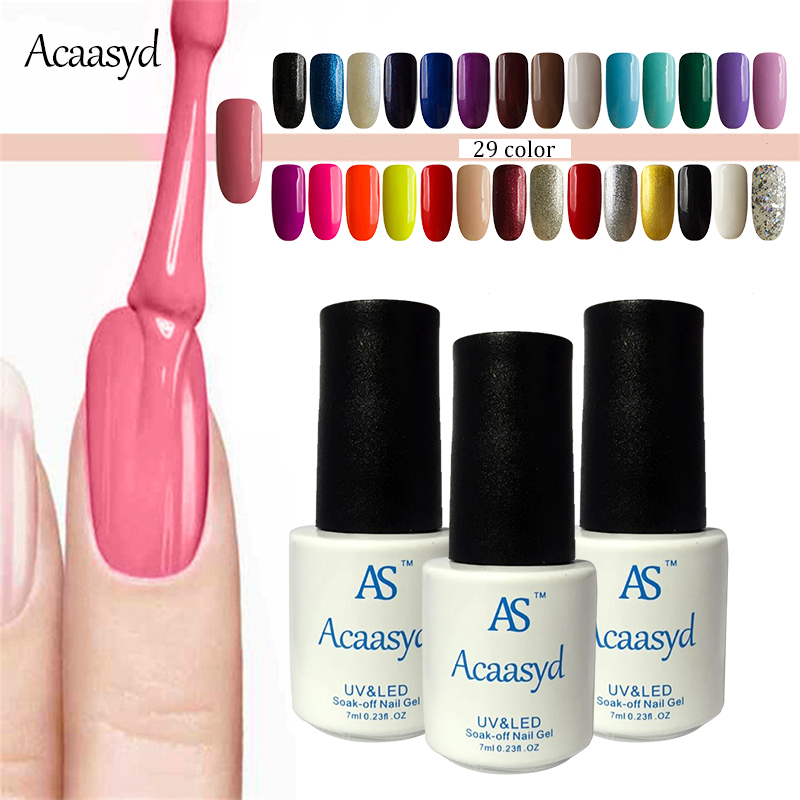 Acaasyd Gel Nail Polish Uv Color Lacquer Easy Clean Cured Led Soak Off Vernis