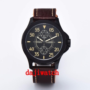 PARNIS Luminous 44mm Mechanical Watches Men's  Watch Power Reserved Luxury Calendar Leather Waterproof Watches Relojes