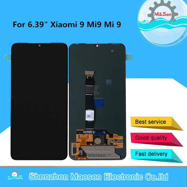 "6.39"" Original Supor Amoled M&Sen For Xiaomi 9 Mi9 MI 9 LCD Display Screen Frame+Touch Panel Digitizer For MI 9 Explorer"