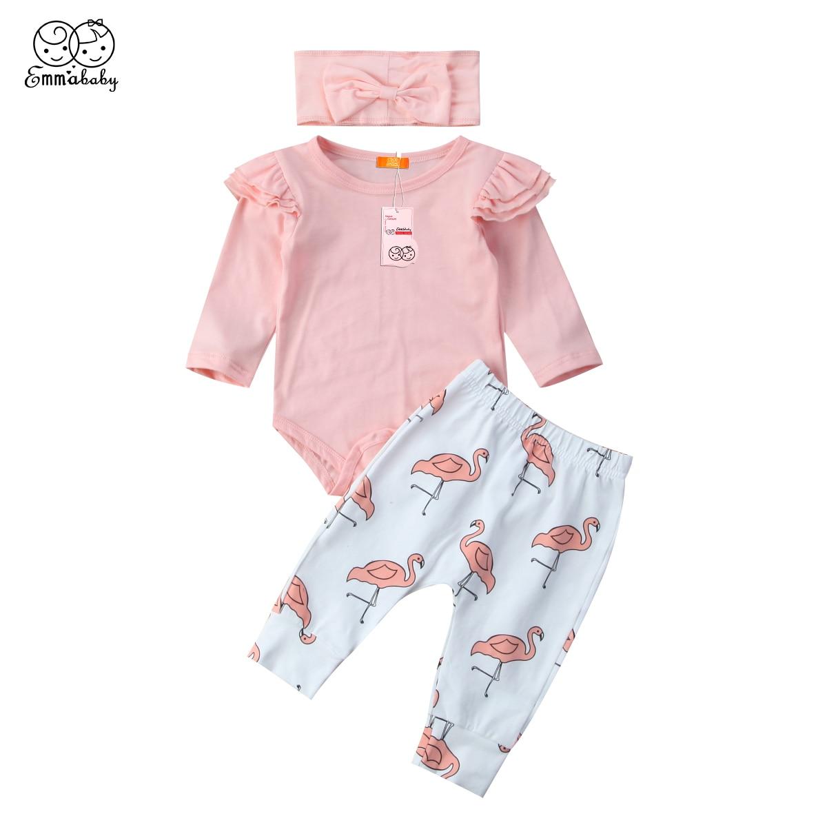 Black Friday Deals 2pcs Lovely Kids Clothes Set Newborn Infant Baby Girls Romper Long Pants Flamingo Clothes Outfits Sets 3PCS