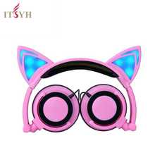 Wholesale Fashion Earphones & Headphones girl students LED light  headband earpones with microphone foldable Cute Cat Ear headset TW-763