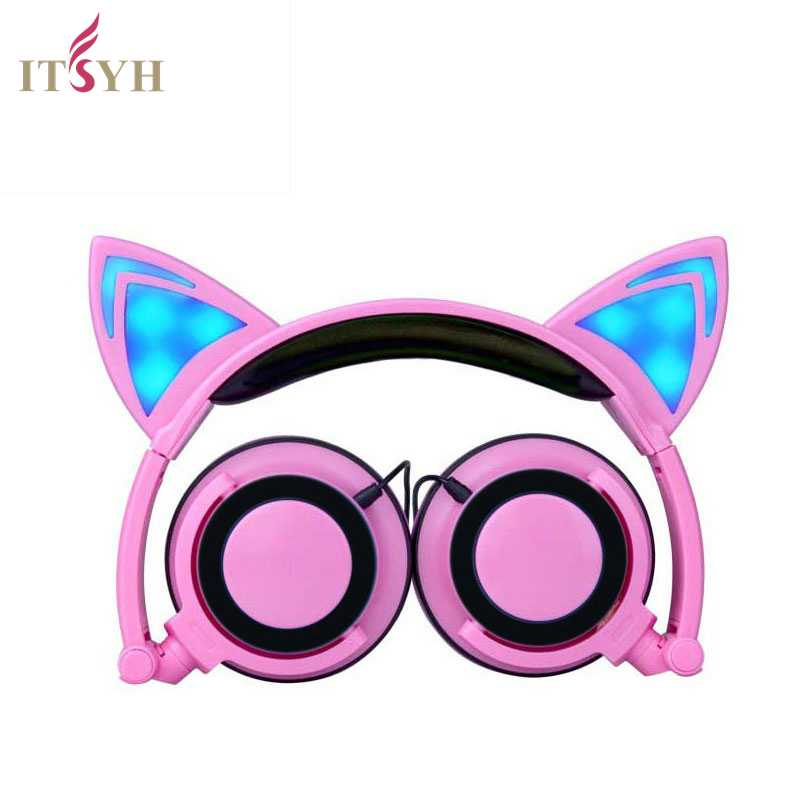 Fashion Earphones Headphones Girl Students LED Light Headband Earpones With Microphone Foldable Cute Cat Ear Headset