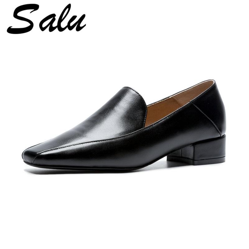 Cuadrado negro Moda Mujer Bombas Genuino Tacón Las Cuero Casuales De Sales Beige Mujeres Zapatos wpxq81qOA
