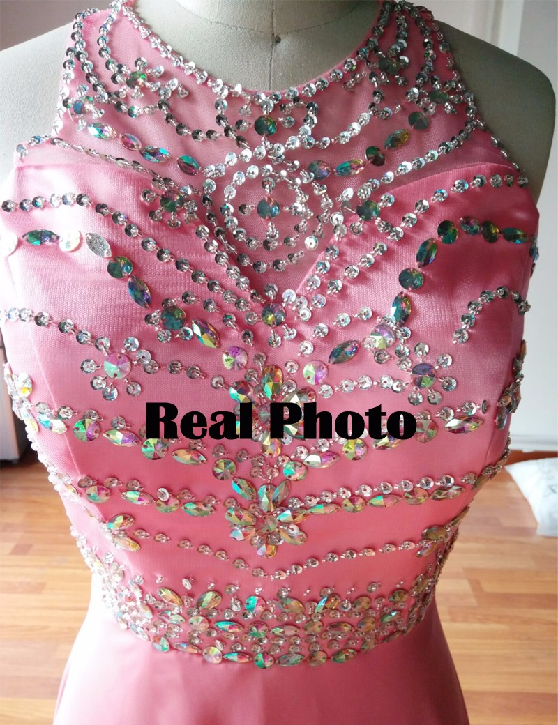 WB616 2018 Real Diseño Bling Del Azul Real Vestidos de Dama de Gasa ...