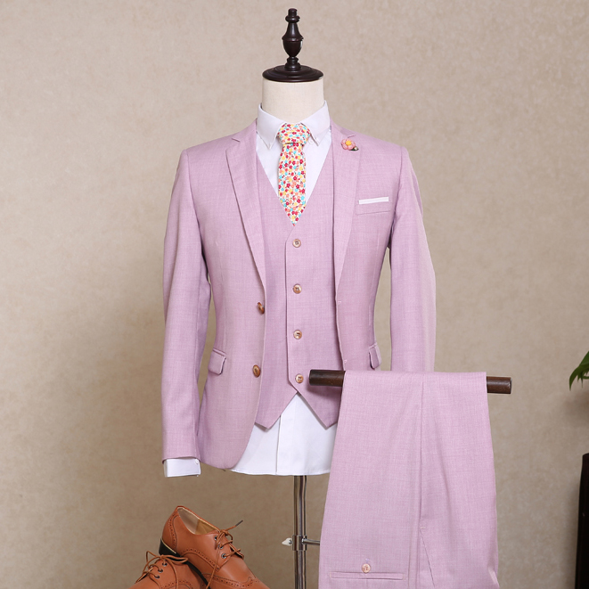 Men's suits Korean fashion suits light purple business three pieces with vest bridegroom wedding dress suits