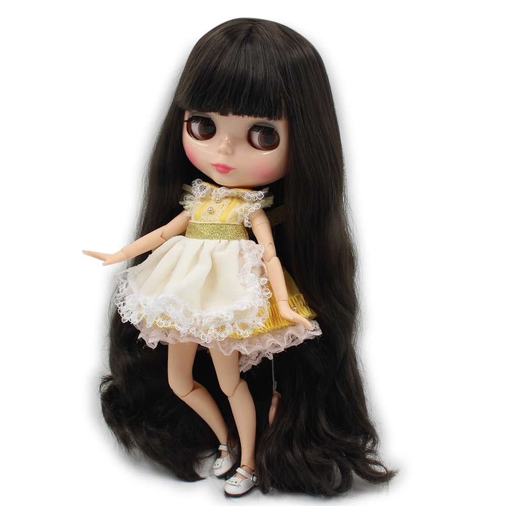 Free shipping blyth doll icy licca body 300BL950 black hair natural skin joint body 1/6 30cm gift toy цена и фото