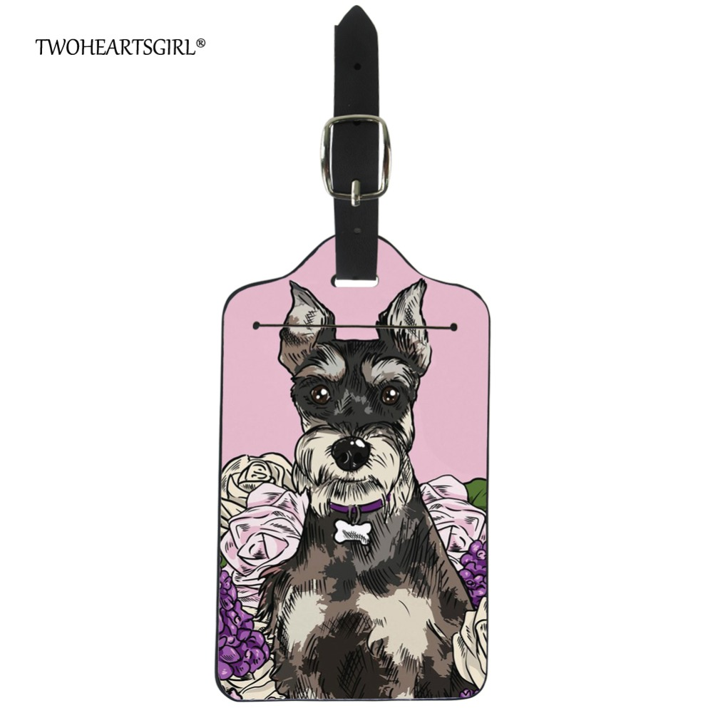 Twoheartsgirl Cute Schnauzer Dog Print Travel Accessories Lovely Pu Leather Luggage Tag Portable Suitcase Name Address ID Holder