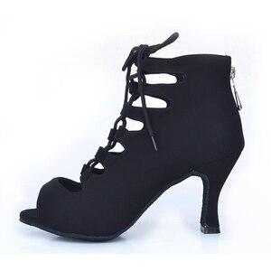 Image 3 - 女性社交ラテンダンスシューズ赤、黒サルサタンゴタンゴシューズバチャータシューズkizomba社会靴ハイヒール 6/7。5/8。5/10 センチメートルスエード唯一