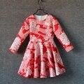 Весна цветочные печати дети цельный женщины девушки длинные большой нижняя юбка семьи матч одежда мать дочь партия база платья