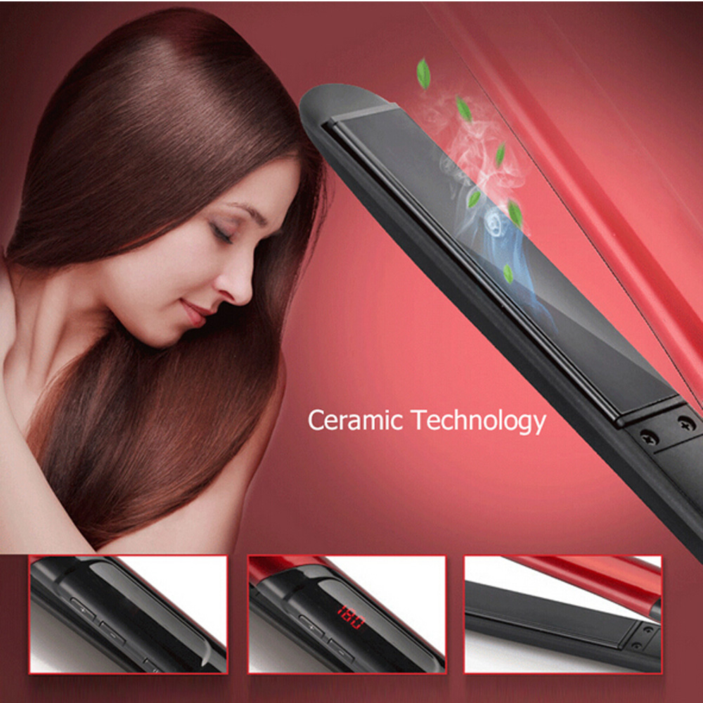 Professional Ceramic Hair Straightener LED Display Electric Straightening Irons Fast Heating Flat Iron kemei professional ionic flat iron electric ceramic anion hair straightener curler straightening irons adjustable temperature