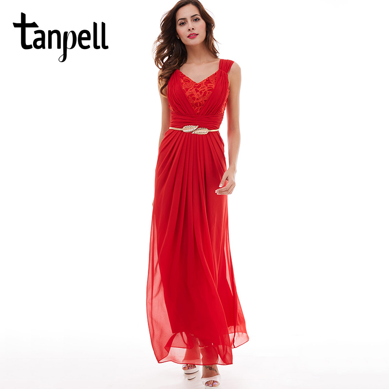 Tanpell v neck prom dress red sleeveless ruched floor length dresses formal evening black lace pleated chiffon a line prom dress
