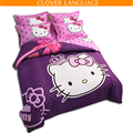 Free Shipping Hello Kitty Bedding Set Children Bed Sheets Hello Kitty Duvet Cover Bed Sheet Pillowcase, 3-4pcs Full/Twin/Queen