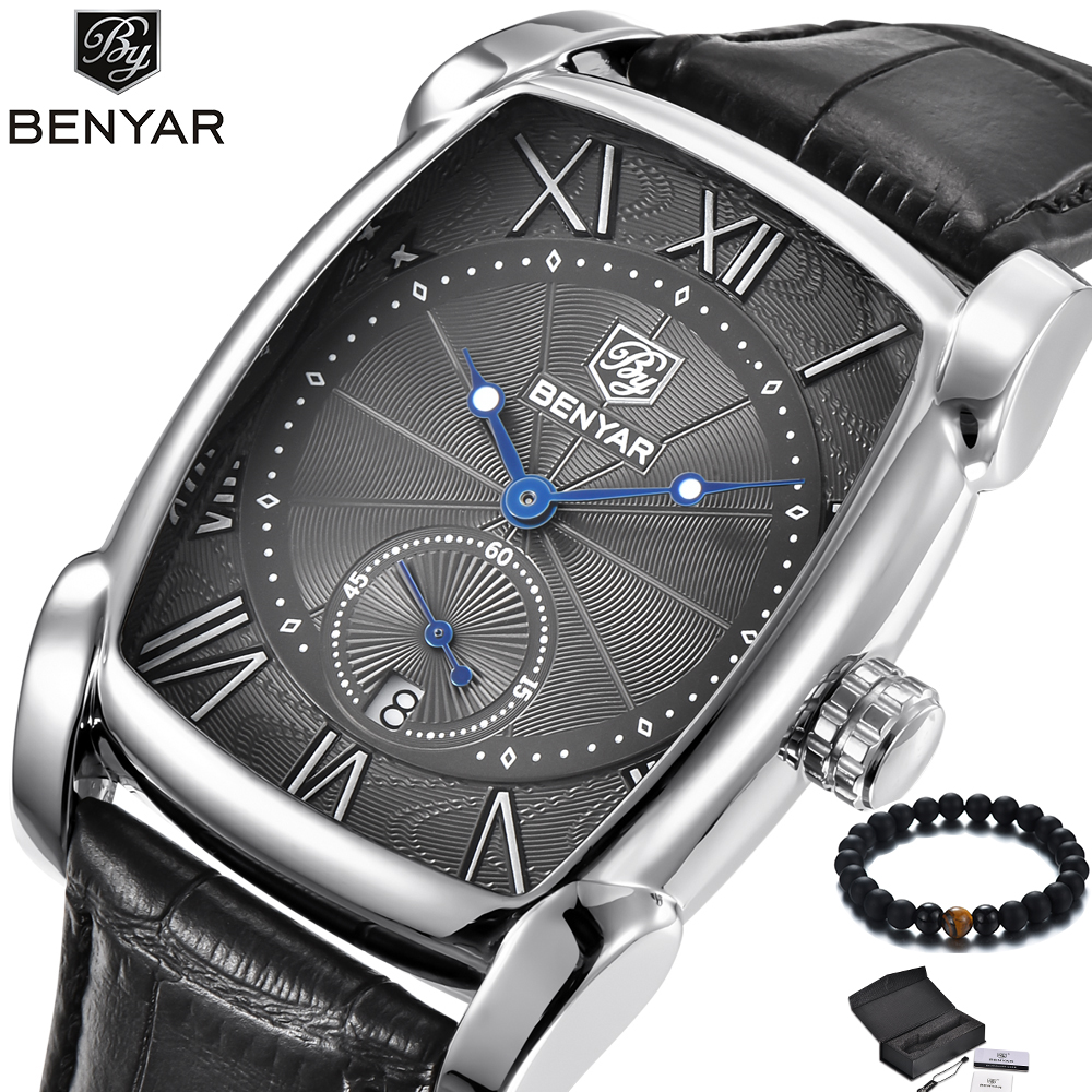 Men Watch BENYAR Luxury Brand Waterproof Fashion Square Quartz Watch Men Clock Leather Men's Wrist Watches With Luxury box цена и фото
