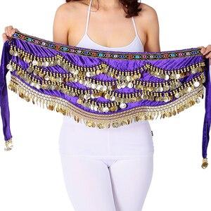 Image 5 - เซ็กซี่เทศกาลผ้าพันคอสะโพกทองเหรียญผู้หญิงBellyเต้นรำประสิทธิภาพกระโปรงสะโพกOriental/อินเดียBelly Danceเข็มขัดเหรียญ