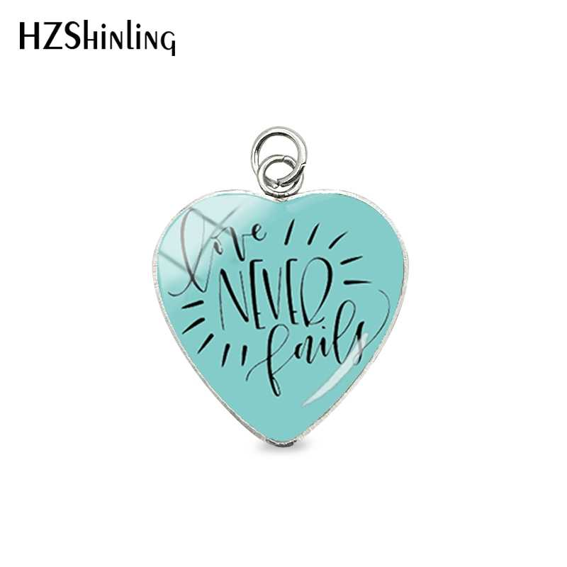 Love Never Fail Bible Verse Quotes Heart Shaped Stainless Steel Plated Charms Hand Craft Glass Dome Heart Pendants Jewelry Gifts