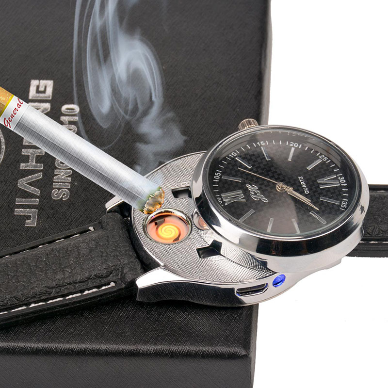 Rechargeable USB Lighter Watches date clock Electronic Men's