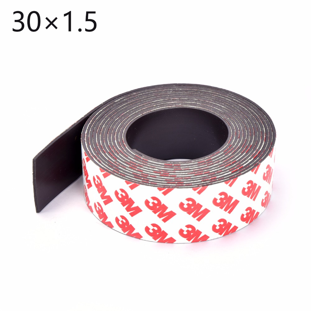1Meters self Adhesive Flexible Magnetic Strip 1M Rubber Magnet Tape width 30mm thickness 1.5mm free shipping 2 meters self adhesive flexible magnetic strip magnet tape width20x1 5mm ad teaching rubber magnet