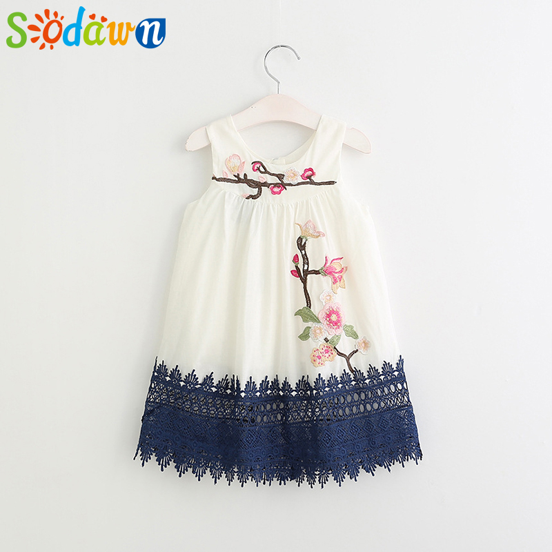 Sodawn Girl Flower Embroidery Dress Baby Girl Clothes Girls Dress Children Clothing Lace Style Clothing
