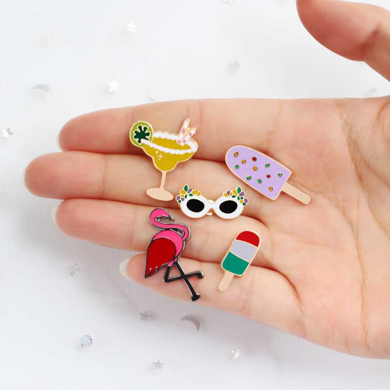 Karikatür Mini broş emaye pimleri güneş gözlüğü suyu Flamingo dondurma Denim ceketler yaka rozetleri takı kadınlar için çocuk hediye