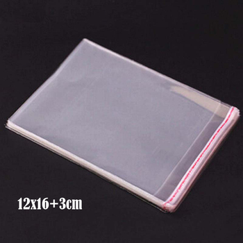 1500 Pcs 12*16cm+3cm Transparent Self Adhesive Seal Poly Plastic Bags Crystal Clear Cellophane Cello Gift Bag