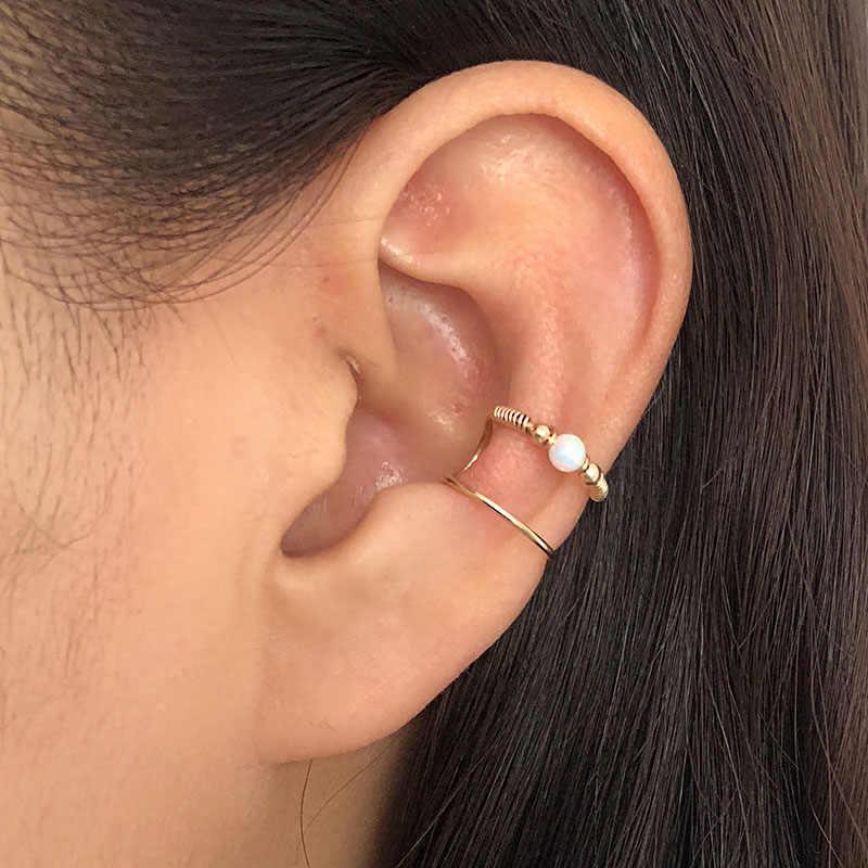 Domino Handmade Opal Ear Cuff Double Wire Wrapping Cuff No Piercing Double Cuff Cartilage Cuff