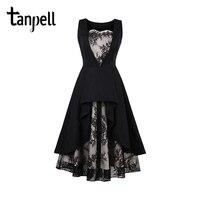 Tanpell Lace Homecoming Dress Black Vintage Sleeveless Tea Length A Line Dress Women Party Graduation Prom
