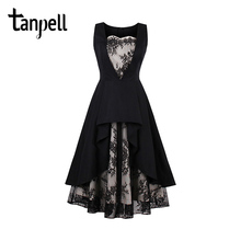 Tanpell lace homecoming dress black vintage sleeveless tea length a line dress women party graduation prom short homecoming gown