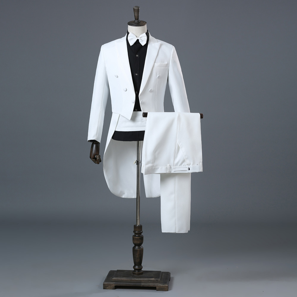 White Wedding Groom Tuxedo Suits Men Double Breasted Tailcoat Dress Suit Men Terno Masculino Stage Singer Mens Suits With Pants
