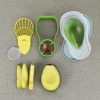 3 en 1 contenedor de almacenamiento de aguacates herramienta para aguacate rebanadora de aguacate pelador de centros pelador de mantequilla separador utensilios para verdura Cocina