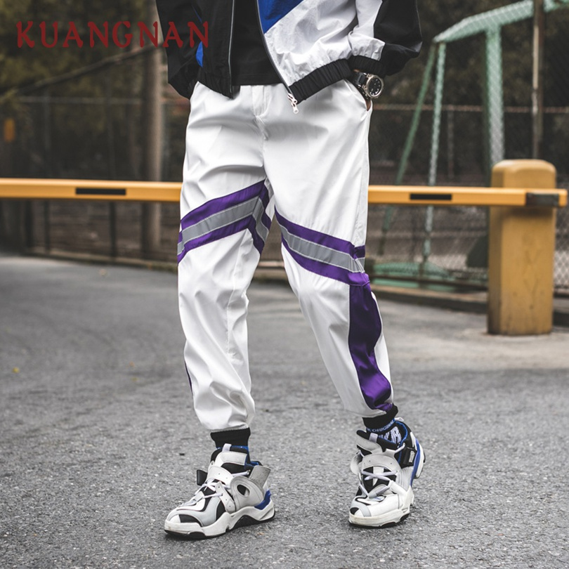 KUANGNAN Striped Pants Japanese Streetwear Sweatpants-Trousers Men Jogger Hip-Hop