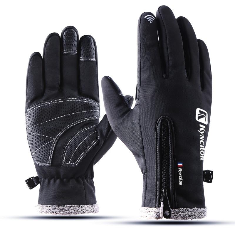 1 Pair New Waterproof Fleece Men Women Ski Gloves Plus Size Wind-proof Thermal Touch Screen Outdoor Sport Snowboard Gloves Jade White