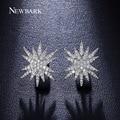 NEWBARK Estrella Apilados Estilo Pendientes de Joyería de Moda Oro Blanco Plateado Tiny Circonita Pavimentada Pendientes Exquisitos Para Las Mujeres