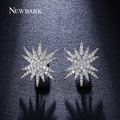 NEWBARK Star Stacked Style Earrings Fashion Jewelry White Gold Plated Tiny Cubic Zirconia Paved Exquisite Earrings For Women