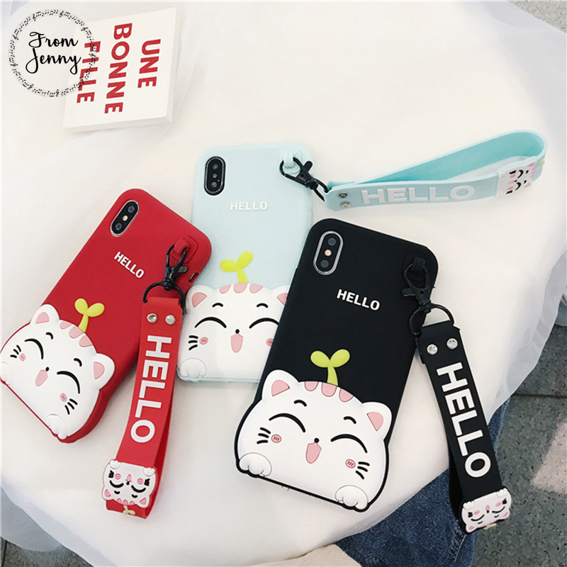 From Jenny Cute Hello Cat phone Case For iPhone 6 6s 6plus 6splus 7 7plus 7+8 8plus X Casing Back Cover New Color Silicon Soft