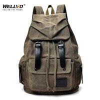 Vintage Canvas Backpack Men Laptop School Bags Male Large Drawstring Travel Rucksack Tourist Luggage Backpacks Mochila