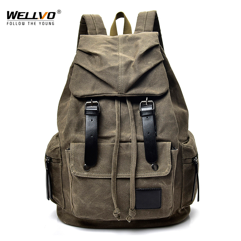 Vintage Washed Canvas Backpack School Male Drawstring Leather Buckle Rucksack Travel Shoulder Bag Tourist Bags Mochila XA2207C scione ethnic canvas backpack printing elephant butterfly drawstring casual rucksack travel shoulder bag mochila feminina xa739a
