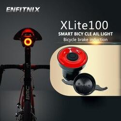 Enfitnix Lampu Belakang Sepeda Intelligent Sensor Lampu Rem USB Xlite100 ROAD Sepeda MTB Belakang Lampu Belakang
