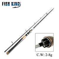 FISH KING 2 section Carbon Fishing Rod Spinning Light L power casting weight 2 8G Line 3 8LB Fast Travel Fishing Lure Rod 2.4m