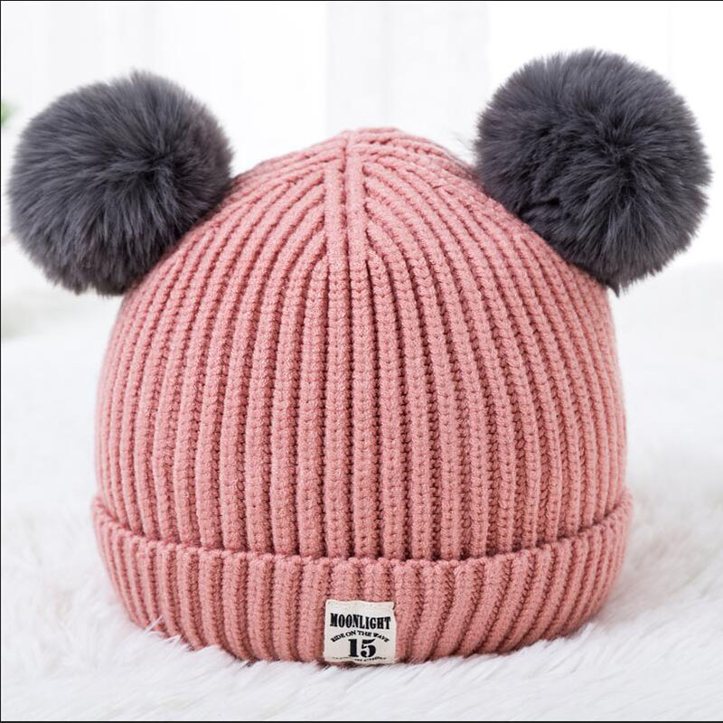 BINGYUANHAOXUAN 2018 New Fashion Baby Girls Beanie Hats Children Dual Ball Sweater Hats Winter Warm Knitted Hats