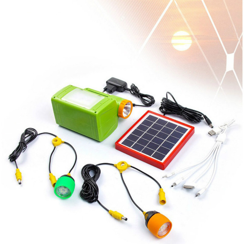 Portable Solar Panel Power Generator Solar Lamp 2 LED Bulb Home Lighting System USB Port Charging Function Camping Tent Lights home outdoor lighting portable led solar panels charging generator power system support usb disk sd card fm function rc