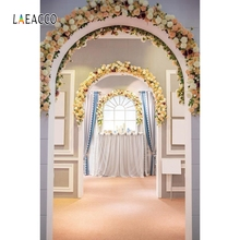 Laeacco Flowers Arch Doors Wedding Bridal Portrait Photography Backgrounds Customized Photographic Backdrops For Photo Studio new arrival background fundo doors open flowers 300cm 200cm about 10ft 6 5ft width backgrounds lk 2673