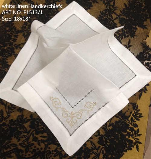 """Novedad pañuelos Unisex 12 pzas/unids/lote 18x18 """"pañuelo de boda de lino Vintage bordado Floral para ocasiones especiales"""