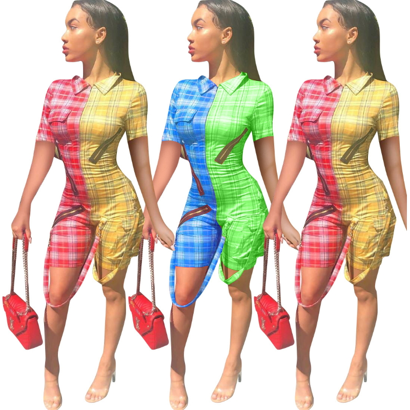 Plaid Print Bodycon Bodysuit Patchwork Ribbons Zipper Front Bandage Jumpsuits Sexy Checkered Outfits Shorts Casual Playsuits
