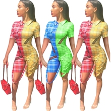 Plaid Print Bodycon Bodysuit Patchwork Ribbons Zipper Front Bandage Jumpsuits Sexy Checkered Outfits Shorts Casual Playsuits цена 2017