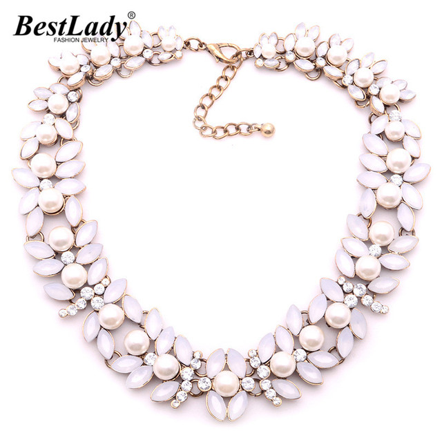 Best lady New ZA Fashion Luxury Statement High Quality Women Collar Luxury Women Maxi Statement Simulated Pearl Necklace B231