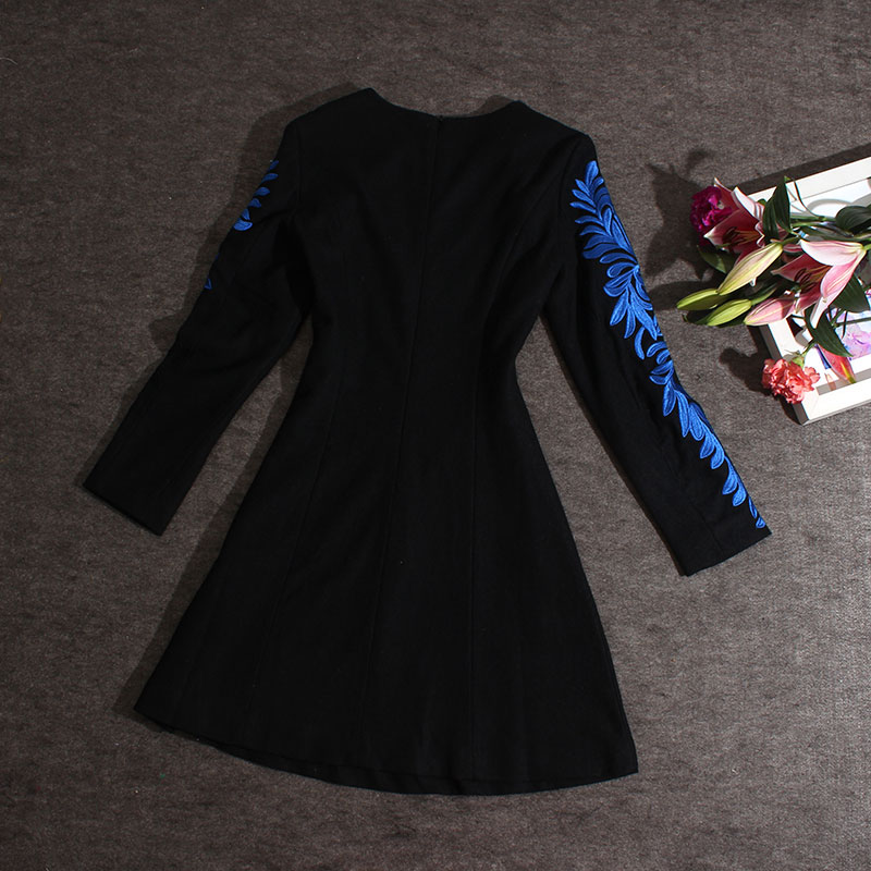 Broderie Manches Longues Femmes Mode O A Robes cou Noir ligne À fpzxgqwA0x