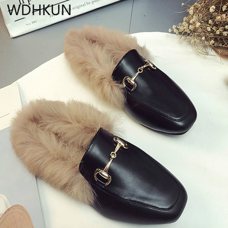 WDHKUN 2019 New Brand Leather Female Slippers Foreign Trade Size Shoes fashion Flat Half Wool Shoes Slippers Jurchen FurWDHKUN 2019 New Brand Leather Female Slippers Foreign Trade Size Shoes fashion Flat Half Wool Shoes Slippers Jurchen Fur